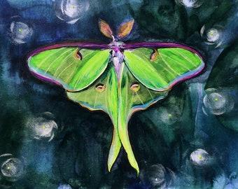 Luna Moth Print - Night Sky - Watercolor - Fireflies - Bohemian - Boho Decor - Gallery Wall - Black Light Neon