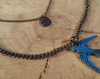 Bright Blue Bird and Rose Multi-chain Necklace