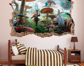 Alice in Wonderland 3D Wall Decal Sticker Vinyl Decor Mural