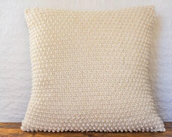 """Natural fisherman""""s wool textured pillow cover"""