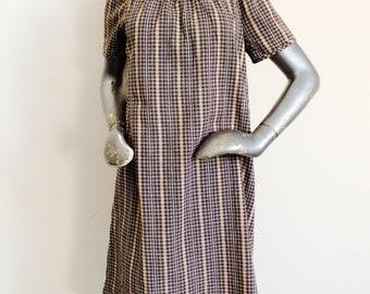 1960's True Vintage Checked Summer Cotton Smock Dress Short Raglan Sleeves