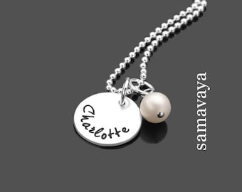 Chain bead 925 Silver jewelry name necklace with engraving SELECT PEARL