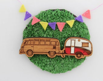 Wood laser cut brooch Cosy vintage Caravan/Kombi combo Hand painted red and white