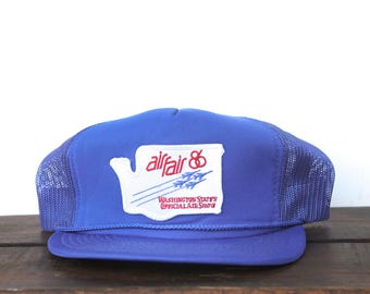 Vintage Trucker Hat Snapback Hat Baseball Cap Allfair 1986 Washington State's Official Air Show Plane Jet