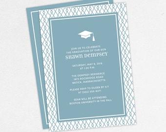 Graduation Invitation, Graduation Announcement, Printable Invite, Invitation PDF, DIY Graduation, Printed Invites, Modern, Boy, Shawn, Blue