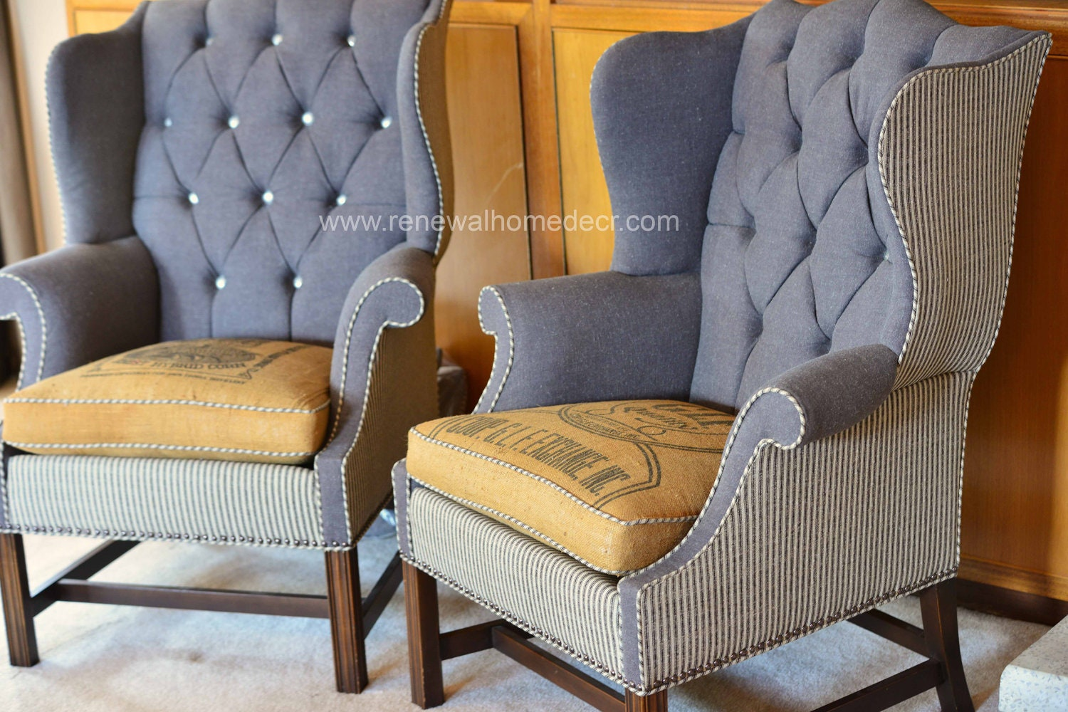 Custom Order Vintage Upholstered Wing back Chair