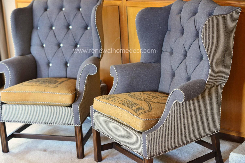 🔎zoom - Custom Order Vintage Upholstered Wing Back Chair - Antique Wing Back Chair Antique Furniture