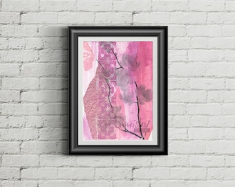 Wallflower - Giclee Fine Art Print of Mixed Media Painting