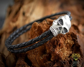 Silver Skull Leather Bracelet, Sterling Silver Bracelet, Skull Jewelry, Skull Bracelet, Cuff Steampunk Jewelry, Unisex jewelry