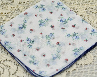 Vintage Hankie Tiny Blue and Pink Flowers #C-39