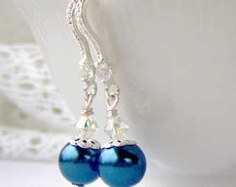 Blue Pearl and crystal earrings / classic pearls / bridal earrings / cobalt blue pearl / AB crystal / gift for her / birthday gift / unique