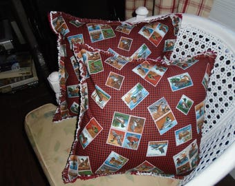 Duck Stamp Ragged Pillow Covers Set of 2.  gift for Dad