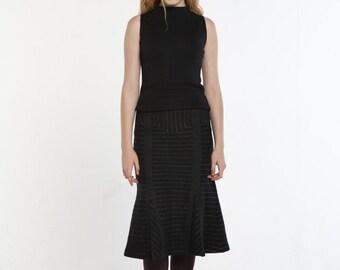 Wool Stripe Mermaid Skirt_BLACK