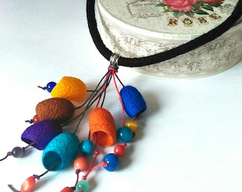 Necklace silk cocoons Long Necklace-Boho  Gift for women Pendants silk cocoon Christmas gift Silk cocoon jeweiry