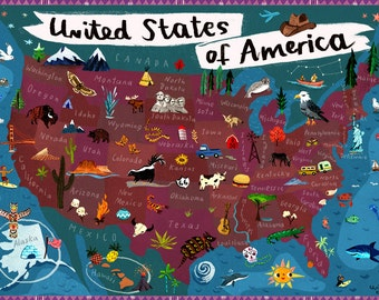 map of usa north america digital poster print map illustration for kids