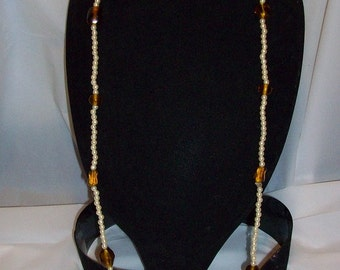 Vintage Pearl and Amber beaded Necklace