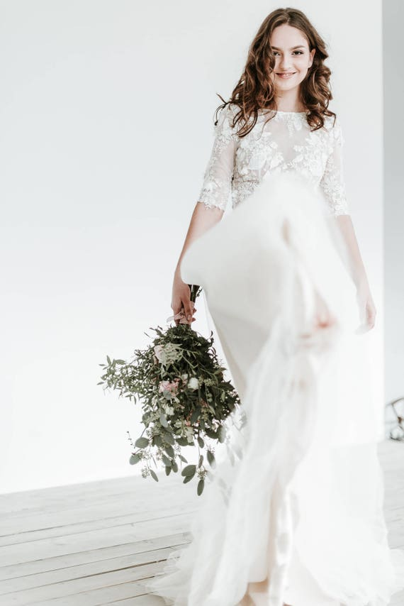 Lace Wedding Dress with Sleeves Floral Lace Gown Ivory