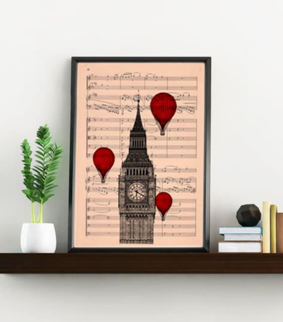 Big ben London wall art- Music sheet art, England art print, Wall decor music sheet art, music sheet , London art TVH009