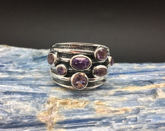 Multi-Stone Amethyst Silver Ring // 925 Sterling Silver // Oxidized Etched Setting // Amethyst Cluster Ring