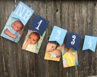 12 month photo banner, 1st birthday photo banner, first year banner, boy birthday banner, blue 1st birthday