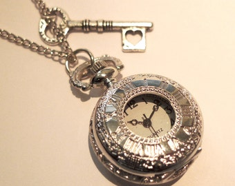 Alice in Wonderland Pocket Watch Necklace -Vintage SILVER Clock Jewellery -Key Heart Charm -Mad Hatters -Kitsch Gift Present- Long Necklace