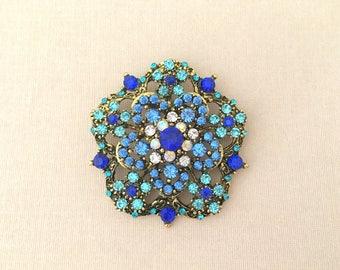 Blue Rhinestone Brooch.Vintage Style Blue Rhinestone Brooch.Blue Gold Rhinestone Brooch.Edwardian Style.Crystal.bridal accessory.broach.Pin