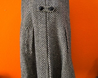 1960's  Vintage Mod Black & White Double Breasted Winter Wool Cape Great for Holidays
