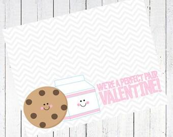 valentines day bag topper cookie milk printable - Milk & Cookie Valentine's Day Bag Topper Printable