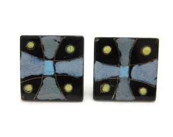 Enamel on Copper Earrings - Maltese Cross, Screw Back Earrings, Square, Mid Century Modern Vintage Earrings for Women