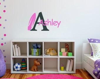 Surfboard Wall Decal,Nursery Wall Decal, Boy's Room Decal, Girl's Room Decal, Personalized Wall Decal,SALE