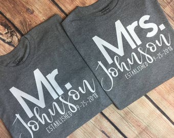 Mr. And Mrs. (Last Name) Couples Shirts Established Couples Shirts Honeymoon Couples Shirts Wedding Couples Shirts Mr And Mrs Shirts Custom