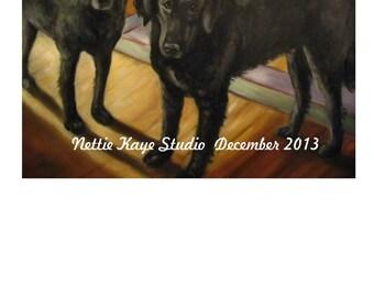 JANUARY PET PORTRAITS  of Two Pets custom oil portrait 12 x 16