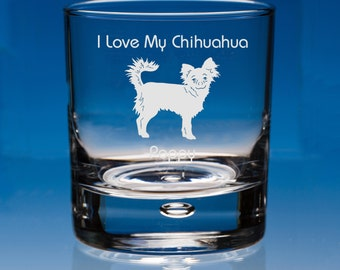 Long Haired Chihuahua Whisky Glass, Personalised, Chihuahua Whiskey Glass, Long Haired Chihuahua, Chihuahua Gift, Chihuahua, Chihuahua Dog
