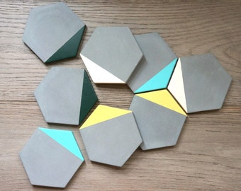 Grey Concrete Blue/Yellow/Green/Off White Painted Hexagon Coasters. Set of 4.