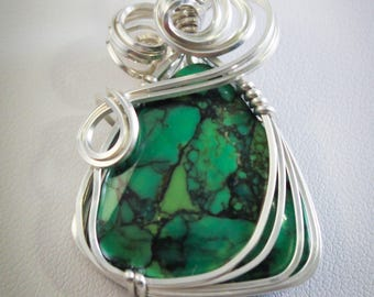Green Turquoise Wire Wrapped in Silver