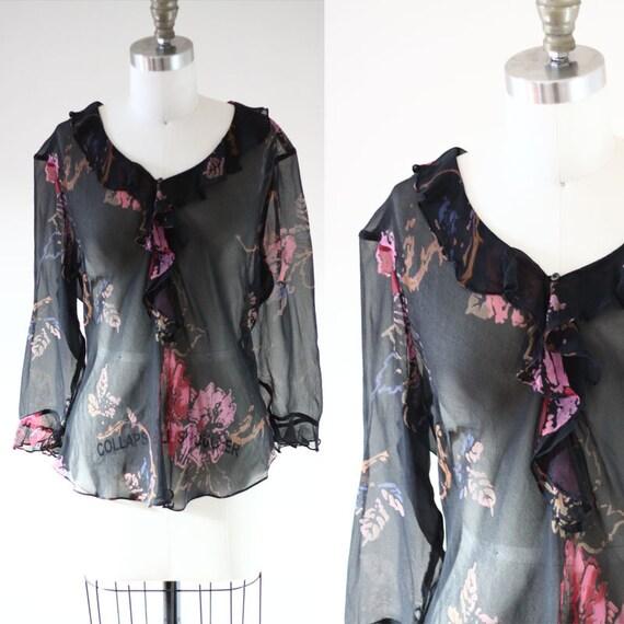 1980s black floral blouse  // 1980s silk blouse // vintage top