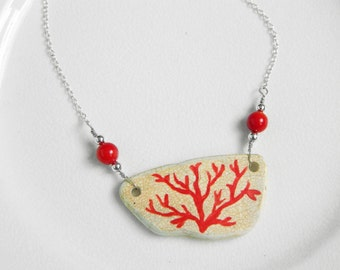 Red Coral Painted Sea Pottery Necklace, Real Coral Beads, Nautical Beaded Jewelry