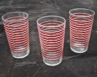 Set of Three Red and White Striped Juice Glasses