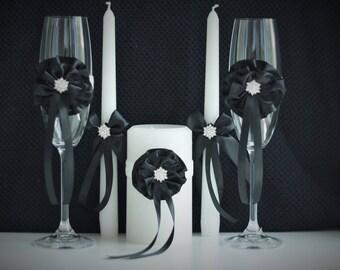 Black Unity Candles / Black Glasses / Wedding Glasses / Champagne Glasses / Wedding unity candle / Ceremony Candles / Unity Candle set