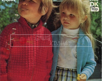 Children's Lumber Jacket 2-4 years DK Sirdar 4159 Vintage Knitting Pattern PDF instant download