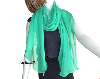 "Emerald Green Long Sheer Scarf Silk Chiffon Narrow Wrap  Shawl, Pure Mulberry Silk,  Evening Formal 17 x75"", Artisan Handmade, Artinsilk."
