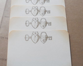 Stationery set vintage heart, lock and key, hand stamped flat note cards, set of 10 with matching envelopes.