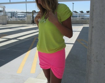 Upcycled Dress Upcycled Clothing Recycled Sweater Upcycled Clothes Eco Friendly  Greenphilosophie S-M Yellow Neon Pink For Her Soft Colorful