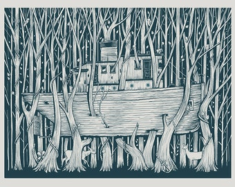 Tugboat in the woods Navy screen print
