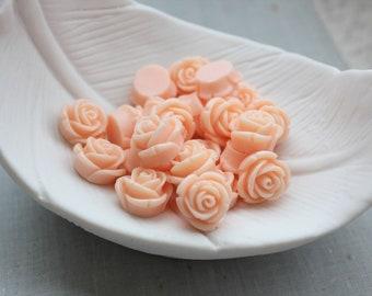 Peach Rose Cabochons 15mm
