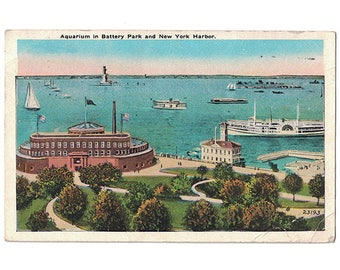 Battery Park New York City vintage postcard | New York Aquarium, Hudson River Harbor, Castle Garden | 1920s NY vacation travel souvenir