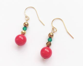 Gold filled, Red Sea bamboo, Golden hematite, green agate earrings