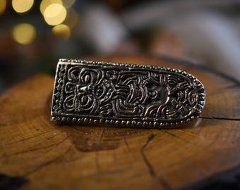 Viking belt strap end in bronze -original from oslo norway replica