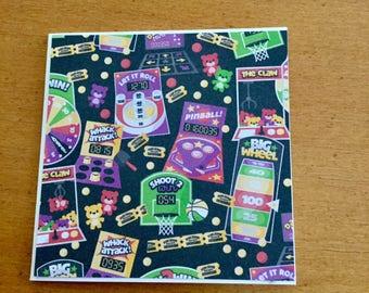 Set of 12 - MINI note cards w/envelopes (Child game themes) & box