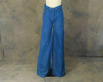 vintage 70s Bellbottom Jeans - 1970s Tall Long Jeans High Waist Wide Leg Bell Bottom Flare Jeans Dark Denim Super Bells Sz 28